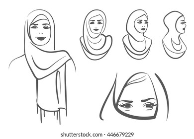 Set of arabic muslim women. Outline style. Vector illustration isolated on a white background.