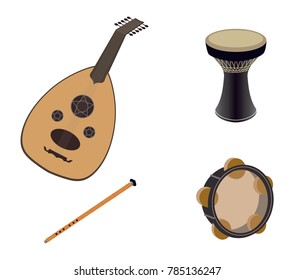 Set of Arabic Oriental musical Instruments, Oud, Ney, Riqq & Tabla - Vector Illustration Isolated