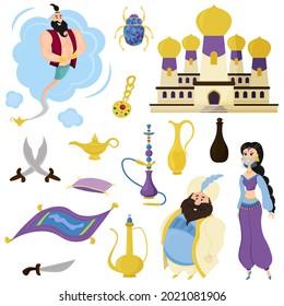 Set of Arabic portraits and cartoon-style characters. Oriental beauty, sultan, genie, oriental vessel, magic lamp, magic carpet, oriental palace, scarab, hookah. Vector illustration in cartoon style.