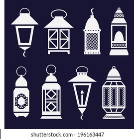 set of arabic Ramadan lanterns. vector icons