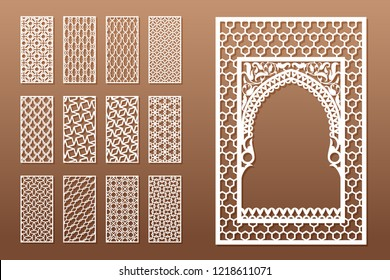 A set of Arabic window templates and 12 privacy panels for laser cutting. Design in oriental traditional style. Through cutting of paper, vinyl, plywood, wood.