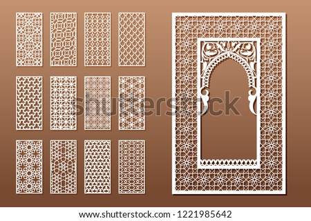 65cbe8fac9d Royalty-free stock vector images ID  1221985642. A set of Arabic window  templates and 12 privacy panels for laser cutting. Design in oriental  traditional ...