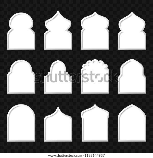 Set Arabic Windows Template Vector Eps Stock Vector (Royalty