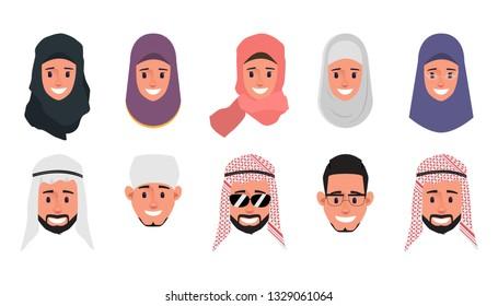 Set of Arab,Muslim,Emirates emotion face character. Cartoon for animation.