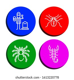Set of arachnid icons. Such as Widower, Spider, Tarantula, Scorpion , arachnid icons