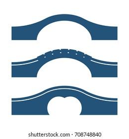 Set of arc bridges vector illustrations isolated on white background