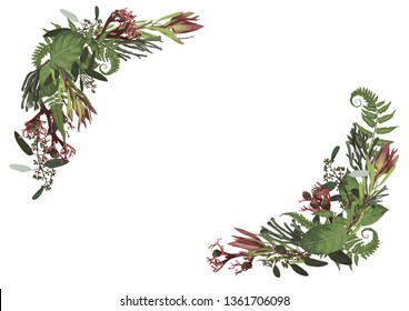 Set of arc, wreath. Greenery and leaves, branches, brunia, blooming eucalyptus, leucadendron, gaultheria, salal, jatropha.  Floral pastel style border.All elements are isolated and editable