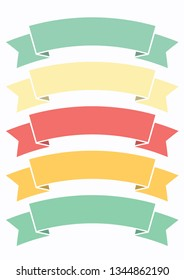 set of arch ribbons banner,glyph ribbon style,ribbon banner in beach coloe style