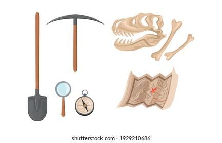 Set of Archaeological Excavation Tools, Prehistoric Dinosaur Skull and Map Cartoon Vector Illustration