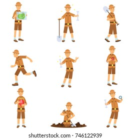 Set of archaeologist character actions