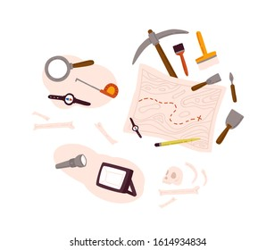 Set of archeology equipment icon with digging out tools, ancient artifacts, map isolated on white background. Collection of history research element for paleontology search vector flat illustration.
