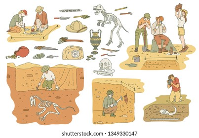 Set of archeology tools and people working on excavation sketch style, vector illustration isolated on white background. Archaeologists researching ancient artifacts and bones