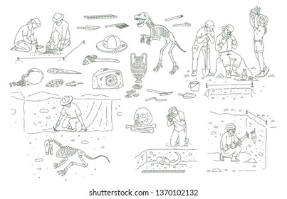 Set of archeology tools and people working on excavation outline sketch style, vector illustration isolated on white background. Archaeologists researching ancient artifacts and bones