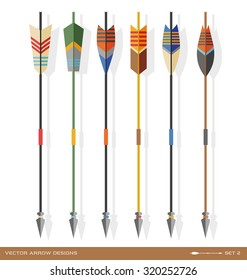 set of archery arrow designs in contemporary style