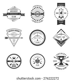 Set. Archery club label collection. Logo and design elements. Vector EPS 10
