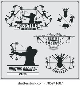 Set of archery sports emblems, labels and design elements. Vector illustration.