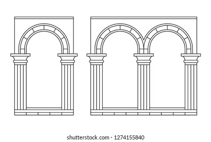 Set of arches with columns. Vector illustration, linear silhouette.