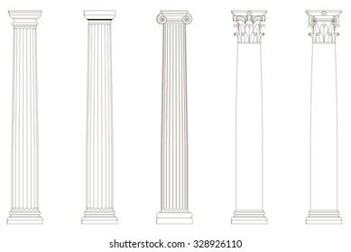 Set of architectural columns. Vector 3d illustration. Linear drawing on a white background.