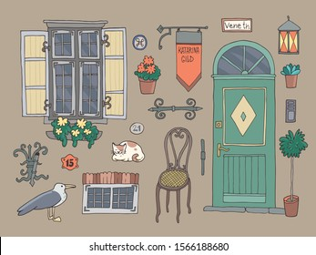 Set of architectural details of old house. Hand-drawn vector illustration.