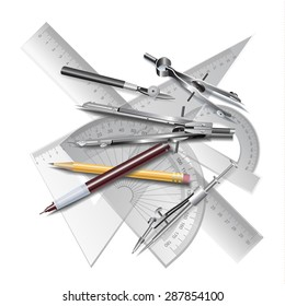 Set of Architectural Drawing Tools, isolated on white. Vector clip-art
