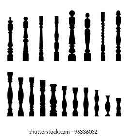 Set of architectural element – balustrade, isolated on white, vector