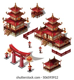 A set of architectural elements in Oriental style. Pagoda house and gate black and red color. Vector illustration.