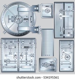 Set of Armored Bank Vault Doors and Shutters. Vector Image