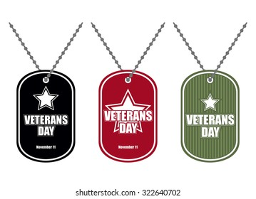 Set army badge. Soldier medallions of different colors. Logo for Veterans Day. National American holiday of November 11.