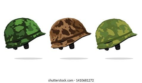 Set of army helmet vector. Army helmet icon. Army war helmet. Military helmet. Vector illustration