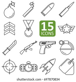 Set of army icon vector