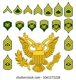 Set of army military American enlisted ranks insignia badges icons