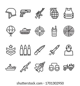 Set of army outline icon style
