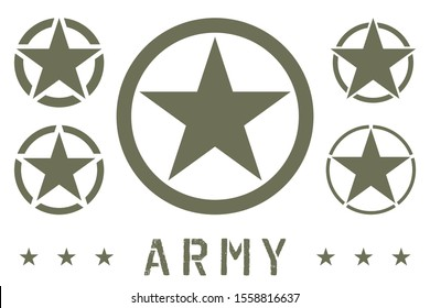 Set of Army Star Green Olive Color. Military Insignia Symbol, Badge, Label