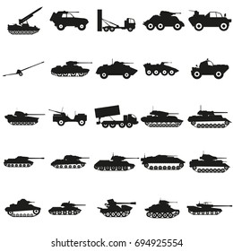 Set Army transport black silhouette icons Vector.