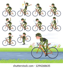 A set of Army women on a road bike.There is an action that is enjoying.It's vector art so it's easy to edit.
