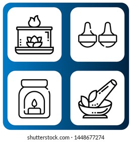 Set of aroma icons such as Aromatic candle, Massage, Aroma, Herb , aroma
