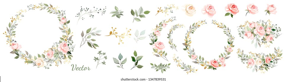 Set. Arrangement of pink roses, decorative leaves and gold elements. Collection: roses, leaves, twigs,herbs, flower arrangements, gold, wreath. Vector design.