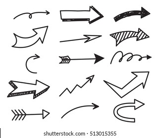 Set of arrow doodle on white background