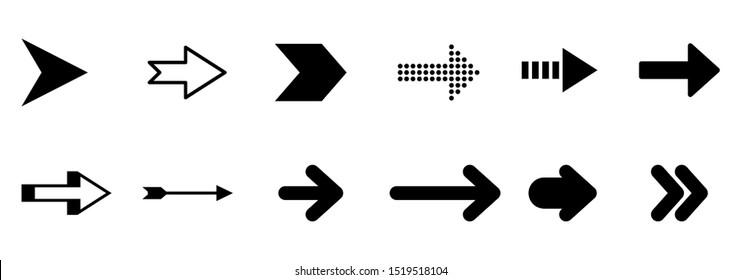 Set arrow icon. Collection different arrows sign. Black vector arrows – vector