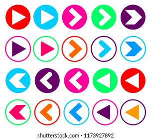 Set Arrow icons, flat design template, vector illustration