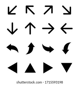 A set of arrow illustration icons with various directions, set of vector flat arrows collection of concept arrows for web design, mobile apps or presentation. vector
