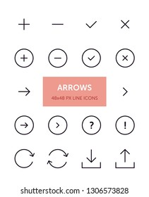 Set of Arrow related vector line icons. Contains icons such as Plus, Check, Close, Chevron and more. 48x48px with editable stroke.