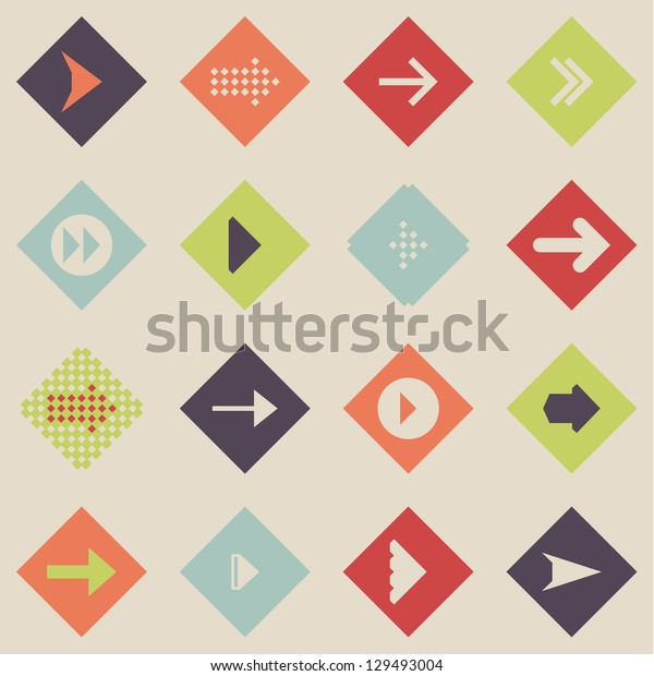 Set arrow sign icon vector