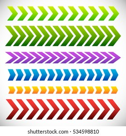 Set of arrowhead, arrow elements. 6 different colorful arrow shape