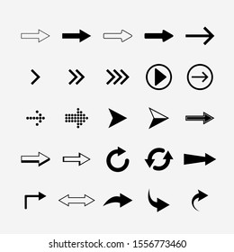 Set of arrows. 25 pieces Black and white. Isolated illustration.