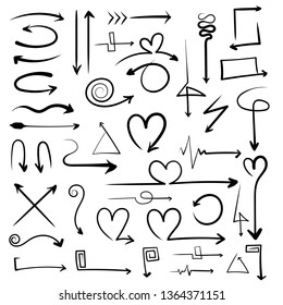 A set of arrows. Arrow straight, heart-shaped, zigzag, square, circle, triangle. Hand drawing. Vector.