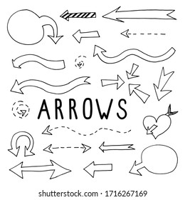 set of arrows of different shapes and styles in the technique of doodles drawn by hand and tracing. Vector collection of arrow pointers: bubble, heart, dotted, striped arrow, arrow on two sides.