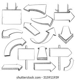 Set of arrows. Doodle image. Isolated on white background