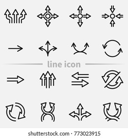 Set of arrows vector thin line icons.