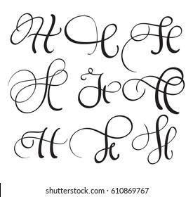 set of art calligraphy letter H with flourish of vintage decorative whorls. Vector illustration EPS10